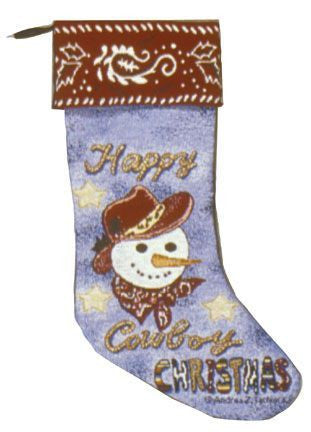 Happy Cowboy Christmas Stocking