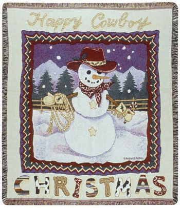 Happy Cowboy Christmas Mid-Size Tapestry Throw