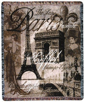 Day In Paris Mid-Size Tapestry Throw