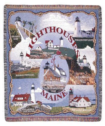 Lighthouses Of Maine Mid-Size Tapestry Throw