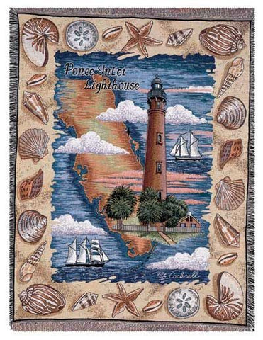 Ponce Inlet, Fl Lighthouse Tapestry Throw