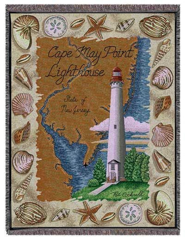 Cape May Point, Nj Lighthouse Tapestry Throw
