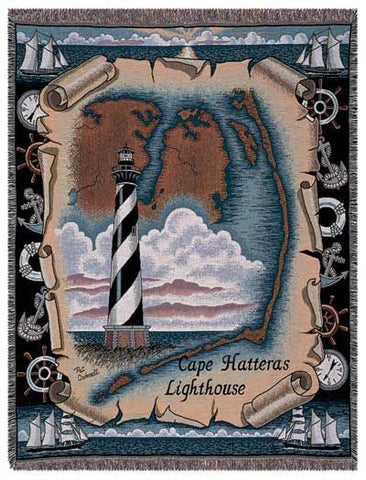 Cape Hatteras, Nc Lighthouse Tapestry Throw