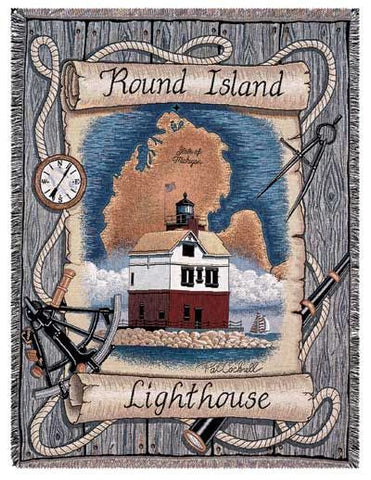 Round Island, Mi Lighthouse Tapestry Throw