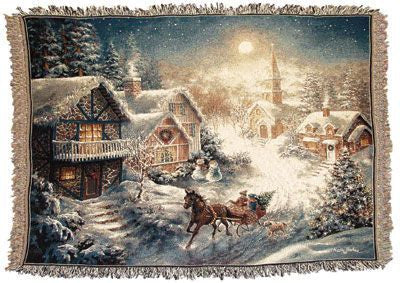 One Horse Open Sleigh Mid-Size Tapestry Throw