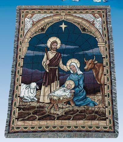 Stained Glass Nativity Tapestry Throw