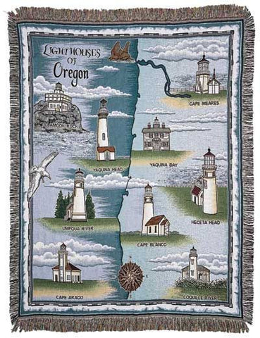 Lighthouses Of Oregon Mid-Size Tapestry Throw
