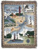 Lighthouses Of North Carolina Mid-Size Tapestry Throw