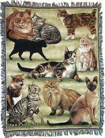 Pats Cats Mid-Size Tapestry Throw