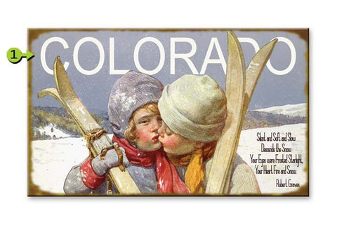 Kissing Kids with Skis Wood 28x48