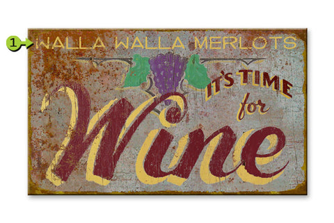 It's Time for Wine Metal 23x39