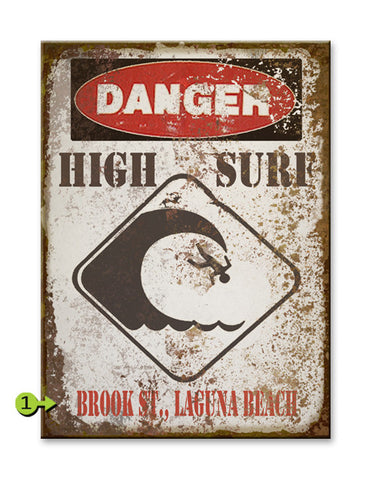 Danger High Surf Wood 28x38