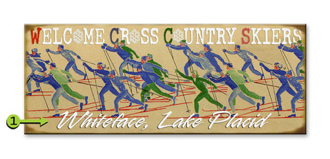 Cross-Country Skiers Wood 17x44