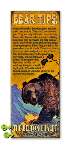 (Grizzly) Bear Warnings Wood 17x44
