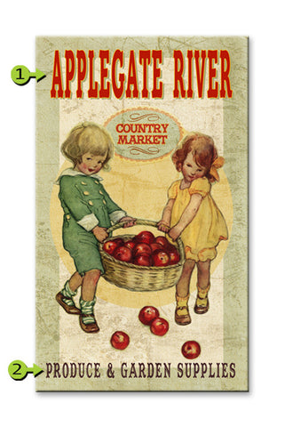 Country Market, Kids with Apples Wood 23x39