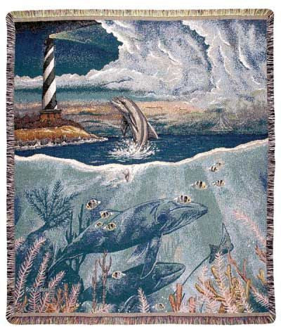 Tapestry - Lighthouse & Dolphin Throw