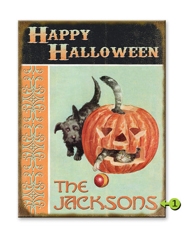 Happy Halloween Kitten and Puppy Wood 23x31