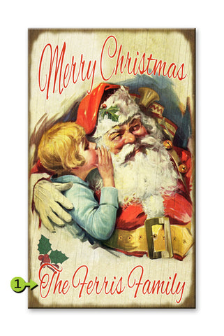 Santa and Whispering Child Metal 14x24