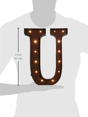 The Gerson Company U LED Lighted Metal Letter with Rustic Brown Finish and Timer Function