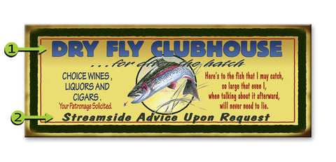 Dry Fly Fisherman's Clubhouse Metal 17x44