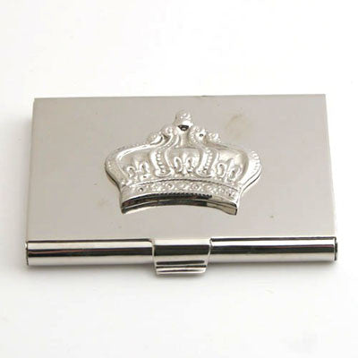 Set Of 2.   Nickel Crown Card Holder