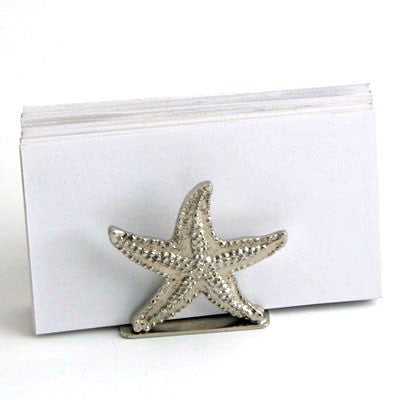 Set Of 4  Nickel Starfish Card Hdr