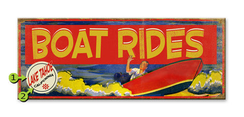 Red Boat Rides Sign Metal 17x44
