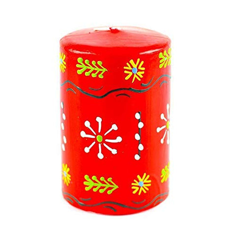 Nobunto Hand Painted Candles in Red Masika Design (Pillar)