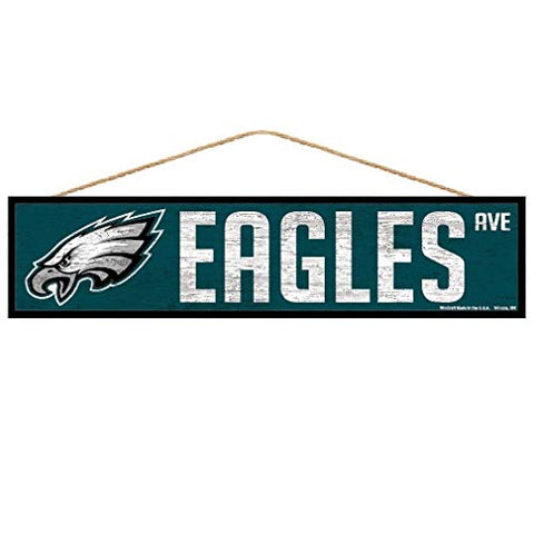 WinCraft NFL Philadelphia Eagles SignWood Avenue Design, Team Color, 4x17