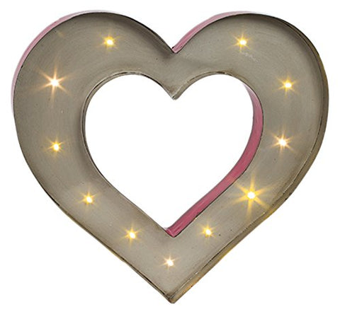 The Gerson Company Red Finish Metal Open Heart Symbol with 12 Warm White LED Lights