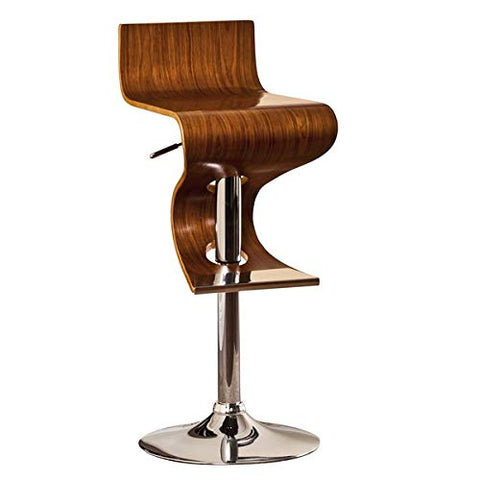 ArtFuzz Modern Swivel Adjustable Barstool with Curved Seat and Back