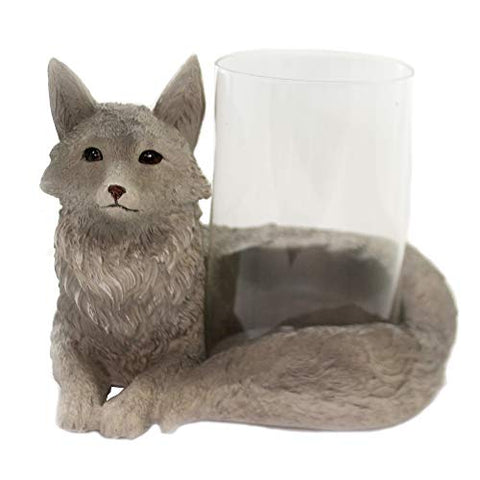 Melrose Fox Votive Holder 8 inches Length x 6 inches Height Resin/Glass