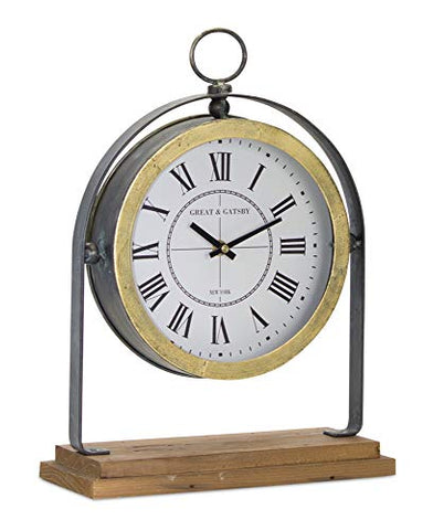 Melrose 78268 Iron/Wood Clock on Stand Tabletop, 11 inches Length X 15.5 inches Height