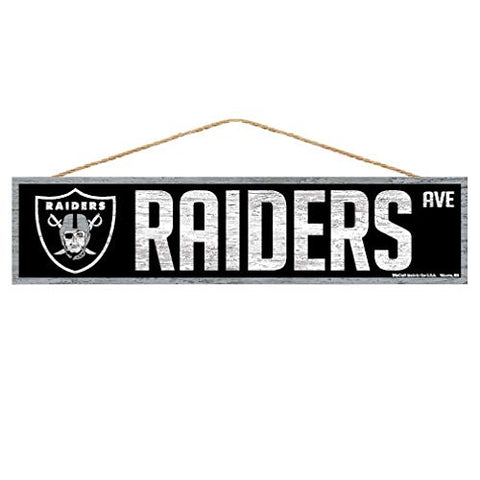 WinCraft NFL Oakland Raiders SignWood Avenue Design, Team Color, 4x17