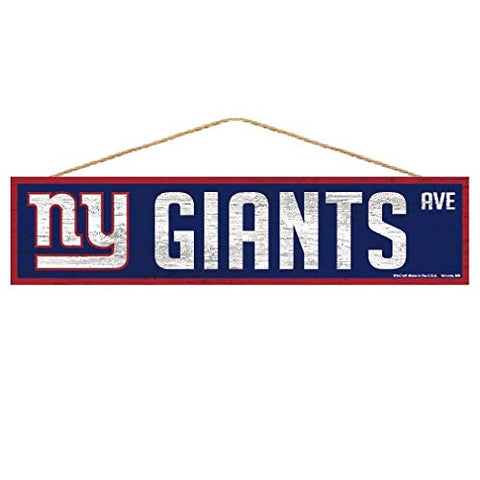 WinCraft NFL New York Giants SignWood Avenue Design, Team Color, 4x17