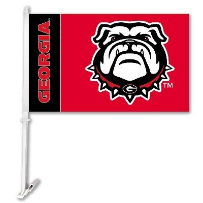 BSI NCAA Georgia Bulldogs Car Flag with Wall Brackett, One Size, Multicolor