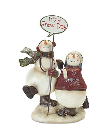 Melrose Snowmen with Sign 9.75
