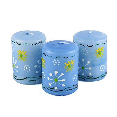 Nobunto Hand Painted Candles in Blue Masika Design (Box of Three)