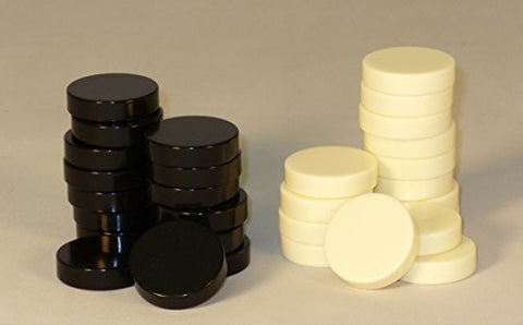 Worldwise Imports Black and Ivory Backgammon Pieces - 1.2in