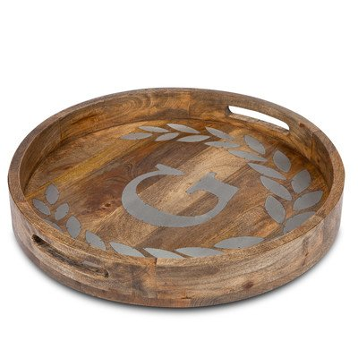 Mango Wood Round Tray with Letter Letter: T