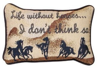 Simply Life Without Horses Pillow