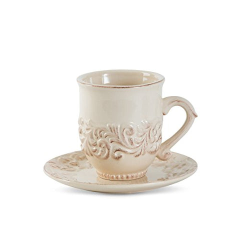 16oz. Acanthus Cup & Saucer, Set of 4