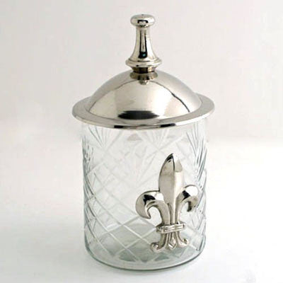 Set Of 2.   Glass Jar-Fleur De Lis