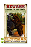 Beware Hold Up Bears Wood 28x48