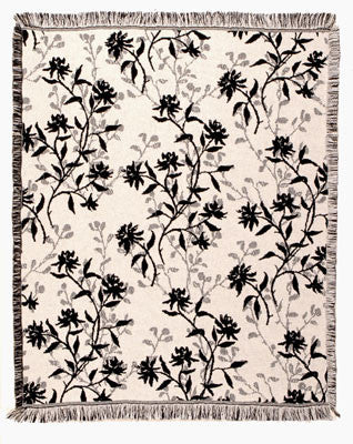 Mid - Blossoms Of Spring - Black Throw