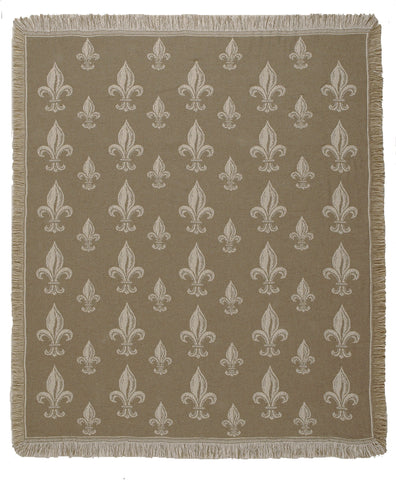 Royal Fleur De Lis Two-Layer Throw/Khaki (5084-14)
