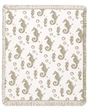 Mid - Seahorses/Khaki Throw