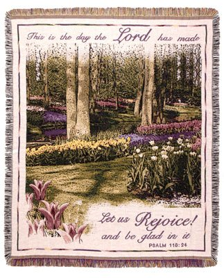 Simply Home This is the Lords Day Rejoice Deluxe Tapestry Throw Blanket Made in the USA