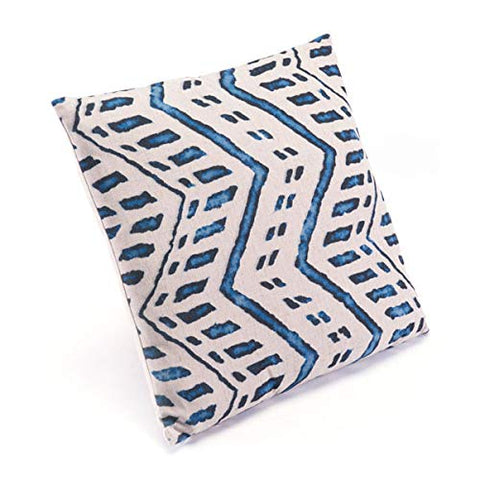 ArtFuzz 17.7 inch X 17.7 inch X 1.2 inch Blue and Natural Lumbar Throw Pillow