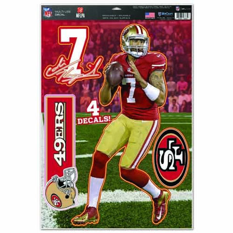 WinCraft NFL San Francisco 49ers Colin Kaepernick Multi-Use Decal Sheet, 11